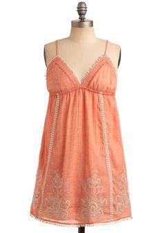 Grapefruit Start Dress - Orange, Pink, Tan / Cream, Floral, Embroidery, Trim, Casual, Empire, Spaghetti Straps, Spring, Summer, Short