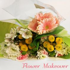 Flower makeover: grocery store bouquet
