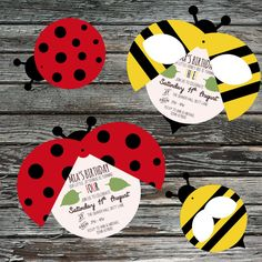 Ladybird, Bumble Bee, moving wings, Insect Party Invitations, Printable