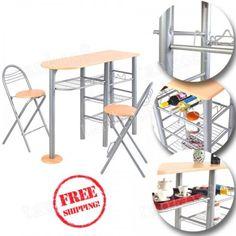 Kitchen-Table-Set-3-Piece-Chairs-Breakfast-Counter-Height-Desk-Shelves-Storage