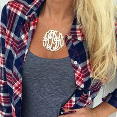 Lace Monogram Necklace - XL Sizes