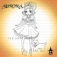 Digital stamp Aurora 'Dorothy and Toto' 300 dpi by theeastwind