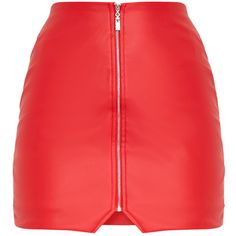 Suzy Red Faux Leather Zip Front Mini Skirt ($32) ❤ liked on Polyvore featuring skirts, mini skirts, red miniskirt, imitation leather skirt, red mini skirt, faux leather skirt and short skirts