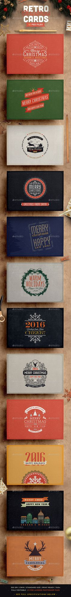 Retro / Vintage Christmas Card Pack Template PSD #design Download: http://graphicriver.net/item/retro-vintage-christmas-card-pack/13124894?ref=ksioks