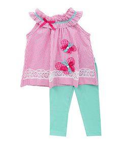 This Fuchsia & Mint Yoke Top & Leggings - Girls is perfect! #zulilyfinds