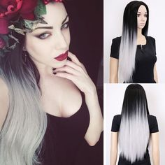 28'' Long Ombrre Gray Wig Long Straight Synthetic Wigs For Black Women Natural Cheap Wigs For Black/White Women Wig Cosplay Hair *** Click the VISIT button to view the details