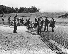Troops Lay Marsden Mats for Landing Field on Guadalcanal 1943