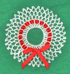 Wreath and Candy Cane Ornaments Crochet Pattern