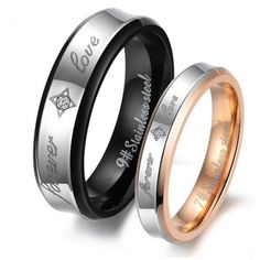 Titanium Steel Promise Ring for Couples with Words Forever Love