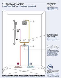 shower valve height shower valve height full image for rough in height for shower valve single control thermostatic shower valve height uk Bathtub Plumbing, Pex Plumbing, Shower Jets, Shower Valve, Bathroom Design Luxury, Bathroom Interior, Bathroom Remodeling, Spas, Plumbing Drawing