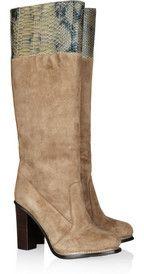 Diane von FurstenbergShelly suede and python-effect leather knee boots