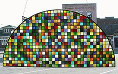 632 Squares Arched Stained Glass Window