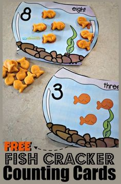 FREE Goldfish Counting Bowls - this is such a fun, hands on math activity for toddler, preschool, and kindergarten age kids for practicing counting to one to one discrimination, and more with yummy goldfish crackers Math Activities For Toddlers, Preschool Learning Activities, Preschool At Home, Free Preschool, Toddler Preschool, Counting For Toddlers, Water Theme Preschool, Toddler Games, Learning Cards