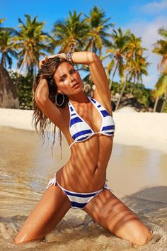 VS blue and white bikini