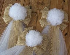 Burlap and Tulle Pew Bows, Tulle Pew Bow, Custom Color Pew Bows, Rustic Wedding Decor, Country Wedding Bows