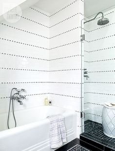 White-on-black bathroom design {PHOTO: Donna Griffith}