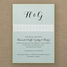 Captivating White Crochet Invitation - Aqua Shimmer - Wedding Invitations - Wedding Invites - Wedding Invitation Ideas - View a Proof Online - #weddings #wedding #invitations