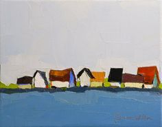 Original Oil Painting Roof Line 8x10 Houses by DonnaWalker