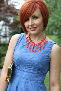 Thrift and Shout blog; Cute Outfit of the Day, J.Crew dress, Goodwill, thrift, red hair