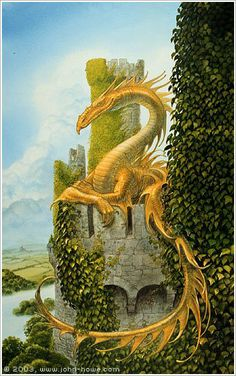 Smaug over Torreon - John Howe Fantasy Dragon, Dragon Art, Fantasy World, Fantasy Art, John Howe, Dragons, Dragon Dreaming, Year Of The Dragon, Dragon's Lair