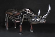 Octopus and Rhino Found Object Sculptures by Jud Turner