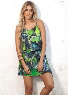 Vestido de Alça Estampa Tropical - Posthaus