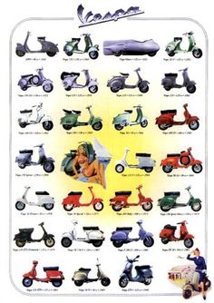 Vespa Scooters - Images of Vintage and Classic Italian Scooters Scooters Vespa, Lambretta Scooter, Scooter Motorcycle, Motor Scooters, Piaggio Vespa, Vespa Vintage, Vintage Ads, Vintage Posters, Vintage Bikes