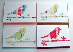 Washi tape card  bird on a branch. Washi tape underneath...cut-out on top! #washitape #washitapecards #washitapebirds