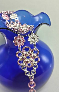 Chainmaille Bracelet  Pink Flowers with Genuine Swarovski Crystal Flower Links by JGrubeJewelry, $18.50