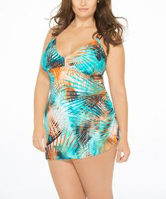 This Turquoise & Orange Palm One-Piece - Plus is perfect! #zulilyfinds