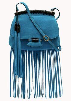 Long Fringed Suede Bamboo Crossbody Bag Light Blue