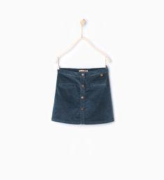 Velveteen skirt with buttons