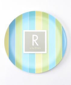 Loving this Blue Pastel Initial Personalized Plate on #zulily! #zulilyfinds