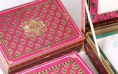 Sayak Trisha 03 Luxury Handcrafted Quality Beautiful Box Invitation Exquisite - By Gold Leaf Design Studios - New Delhi Creative Wedding Invitations, Indian Wedding Invitations, Anniversary Invitations, Wedding Invitation Design, Anniversary Cards, Invites, Mithai Boxes, Indian Wedding Cards, Invitation Kits