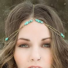 Cute Asymmetric Turquoise Layered Link Hairband For Women