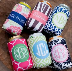 Monogrammed Koozies - Perfect gifts for the bridesmaids.