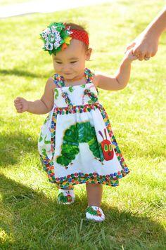 Very hungry caterpillar dress, birthday dress, caterpillar first birthday, party dress, Eric Carle themed dress on Etsy, $42.99