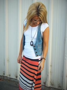 Love the vest, love the skirt, love the necklace-- love all of it!!