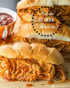 Slow Cooker Italian BBQ Chicken Sandwiches!  How delicious do these look?  Can't wait to make them!