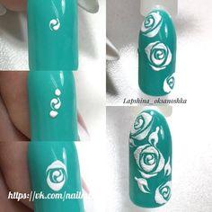 nails Granola granola kitchens inc Rose Nail Art, Floral Nail Art, Rose Nails, White Nail Art, Flower Nails, Acrylic Nail Designs Glitter, Gel Nail Art Designs, Nail Art Designs Videos, Acrylic Nails