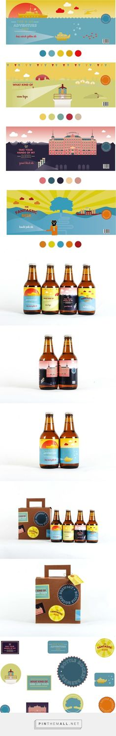 Graphic design, illustration and packaging for BOTTLE ROCKET BREWERY on Behance by Anna Karlin Stockholm, Sweden curated by Packaging Diva PD. Located in the magical world of Wes Anderson, just good beer inspired by fantastic movies.: