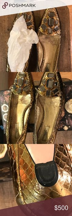 Pre-owned Prada embellished flats size 8.5, 38.5 Golden Prada flats with very small heel. Embellished. Mom wore this approximately 4-5 times. Shows signs of wear on soles of shoe and signs of wear on back of R heel as shown in pictures. Serial # is inside of shoes. Will come with Prada box.  Side note: this shoe did not belong to me so I am not sure about the fit etc. Please look at all the pictures very closely before purchasing. Prada Shoes Flats & Loafers