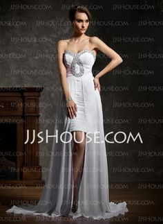 Prom Dresses - $128.99 - A-Line/Princess Sweetheart Court Train Chiffon Prom Dresses With Ruffle Beading (018021112) http://jjshouse.com/A-Line-Princess-Sweetheart-Court-Train-Chiffon-Prom-Dresses-With-Ruffle-Beading-018021112-g21112