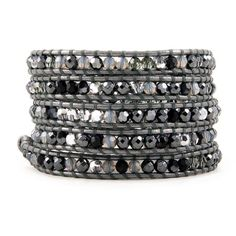 Sparkling gray wrap bracelet ($53) ❤ liked on Polyvore featuring jewelry, bracelets, accessories, beads jewellery, beaded jewelry, adjustable bangles, beaded wrap bracelet and grey jewelry
