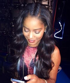 Center fishtail braid, sew-in on KeKe Palmer Pelo Natural, Belleza Natural, Natural Curls, Remy Human Hair, Human Hair Wigs, Weave Hairstyles, Straight Hairstyles, Fashion Hairstyles, Hairstyle Men