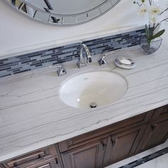 Arizona Tile carries Macaubus White Satin in natural stone quartzite slabs from Brazil. Calacatta Quartzite, White Quartzite, Quartzite Countertops, Ogee Edge, Master Bath Remodel, Fireplace Wall, Guest Bath, Interior Walls, White Marble