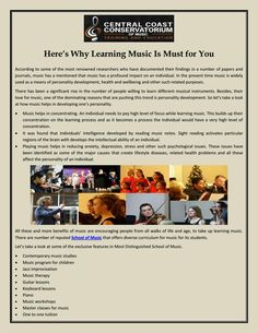 Central Coast Conservatorium helps in reducing anxiety, depression, stress and other such psychological issues with the music. These issues have been identified as some of the major causes that create lifestyle diseases. Contact at: 0243247477.