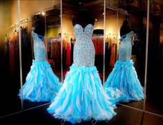 Sky Blue Formfitting Beaded Mermaid Prom Pageant Dress-Strapless-Open Back-Train-115COL0114700450 at Rsvp Prom and Pageant, Atlanta, GA