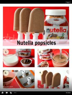 nutella popsicles. ice cream diy. awesome summer cool down. sweet. so gonna do that!,