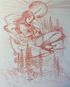 WEBSTA @ valentinepasche - Into lupinus's field. ;) #sketch #sketches #lupinusflowers #artwork #fantasy #fantasyart #comicartist #pencilart #traditionalart #artoninstagram #artistoninstagram #valentinepasche #valp